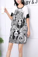White and Black Round Neck Printed Loose Tee Top for Casual