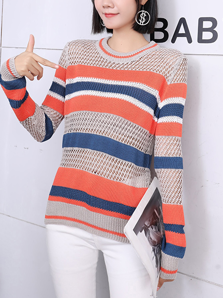 Colorful Round Neck Long Sleeve Sweater Top for Casual