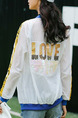 White Blue and Yellow Loose Contrast Linking Letter Printed Sun Protection Long Sleeve Jacket for Casual