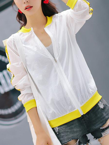 White and Yellow Loose Contrast Linking Letter Printed Sun Protection Long Sleeve Jacket for Casual