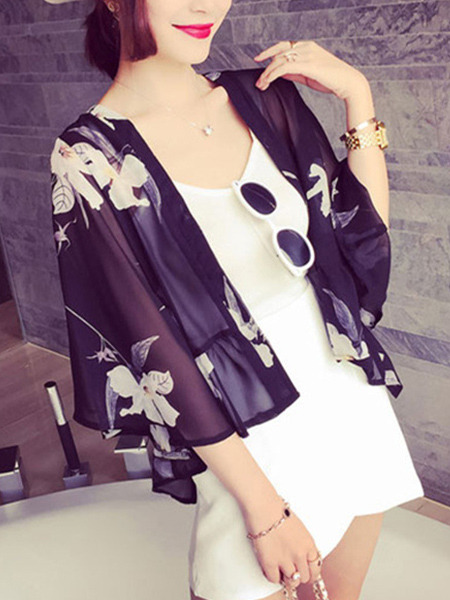 Black and White Swallowtail Butterfly Printed Sun Protection See-Through Flare Sleeve Cardigan for Casual