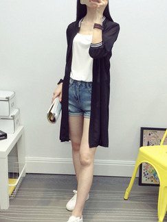 Black Chiffon Medium-Long Contrast Linking Stand Collar See-Through Cardigan for Casual