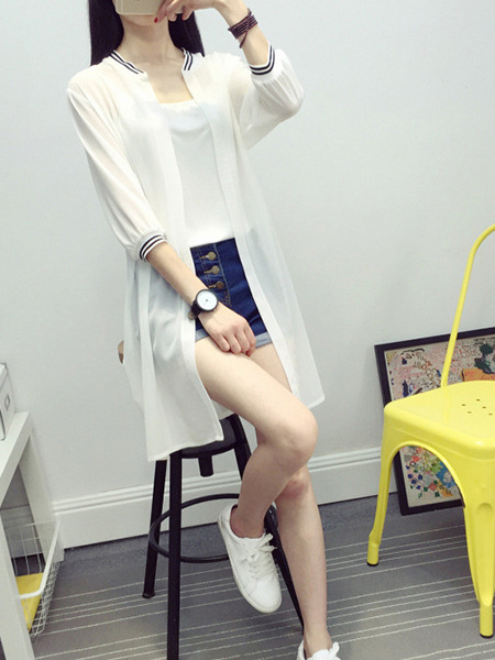 White Chiffon Medium-Long Contrast Linking Stand Collar See-Through Cardigan for Casual