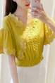 Yellow Slim Linking Lace V Neck Flare Sleeve Adjustable Waist Top for Casual Party