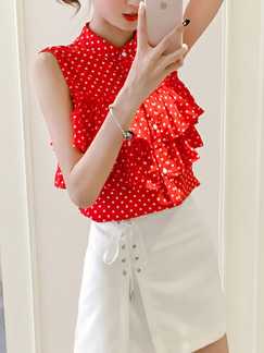 Red and White Plus Size Slim Wave Point Linking Ruffle Stand Collar Single-Breasted Top for Casual Office Party