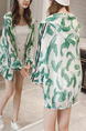 White and Green Plus Size Loose Printed Hooded Drawstring Linking Stripe See-Through Coat for Casual