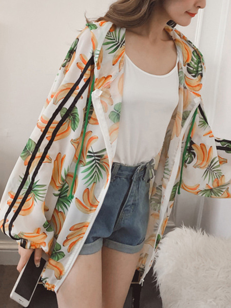 White Colorful Plus Size Loose Printed Hooded Drawstring Linking Stripe See-Through Long Sleeve Coat for Casual