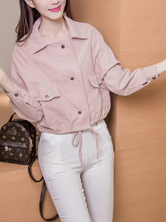 Pink Loose Lapel Single-Breasted Drawstring Pockets Long Sleeve Coat for Casual