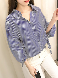 Blue and White Loose Lapel V Neck Lantern Bandage Contrast Stripe  Top for Casual