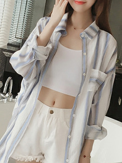 White and Blue Plus Size Loose Contrast Stripe Lapel Single-Breasted Coat for Casual