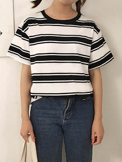 Black and White Loose Round Neck Contrast Stripe  Top for Casual
