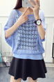 Blue Loose Knitting Round Neck Cutout Bat Sleeve Lace Sweater for Casual Party