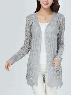 Grey Loose Knitting Cutout Pockets Cardigan Long Sleeve Sweater for Casual  Office 650dc2c6c
