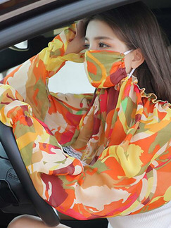 Colorful Printed Shawl Mask Polyester Scarf