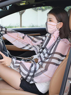 Pink and Black White Contrast Grid Shawl Mask Polyester Scarf