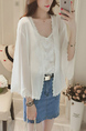 White Plus Size Loose Linking Lace Flare Sleeve Cardigan Long Sleeve Coat for Casual