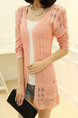Pink Knitting Slim Cutout Pockets Long Sleeve Coat for Casual