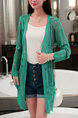 Green Knitting Slim Cutout Pockets Long Sleeve Coat for Casual