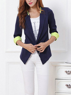 Blue and Green Slim Contrast Linking A Buckle Coat for Casual Office