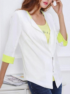 White and Green Slim Contrast Linking Zipper Coat for Casual Office