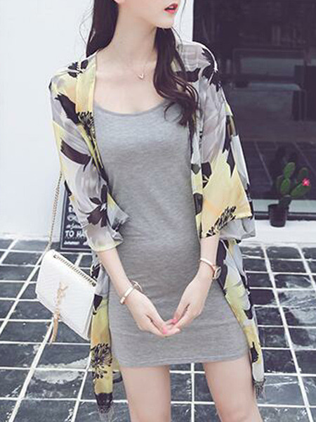 Colorful Loose Printed See-Through Floral Coat for Casual