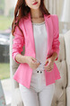 Rose Red Slim Ruffle Lapel Long Sleeve Plus Size Coat for Casual Evening Office