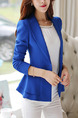 Navy Blue Slim Ruffle Lapel Long Sleeve Plus Size Coat for Casual Evening Office