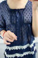 Navy Blue Loose See-Through Laced Shirt Top for Casual Party