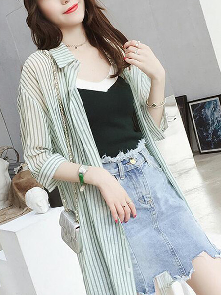 Light Green Loose Stripe Furcal Shirt Top for Casual Party