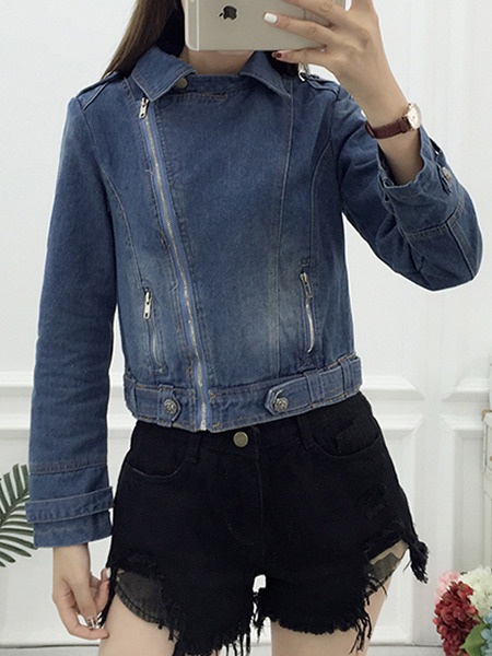 Navy Blue Loose Denim Zipper Long Sleeve Coat for Casual Party