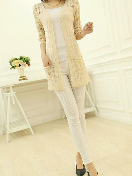 Beige Slim Knitting Cutout Long Sleeve Coat for Casual Office