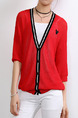 Red Loose Linking Stripe Knitting Coat Coat for Casual Party
