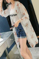White Loose Printed Shirt Long Sleeve Coat for Casual