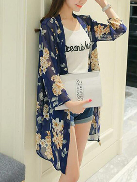 Navy Blue and Colorful Loose Printed Shirt Long Sleeve Coat for Casual