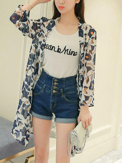 Colorful Loose Printed Shirt Floral Long Sleeve Coat for Casual