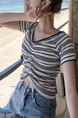 White and Black Slim Knitting Stripe Shirring V Neck Top for Casual Party Beach