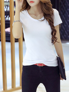 White Slim Round Neck  Top for Casual Party