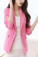 Pink Slim Plus Size Lapel Suit Long Sleeve Coat for Office Evening