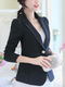 Black Slim Plus Size Lapel Suit Coat for Office Evening