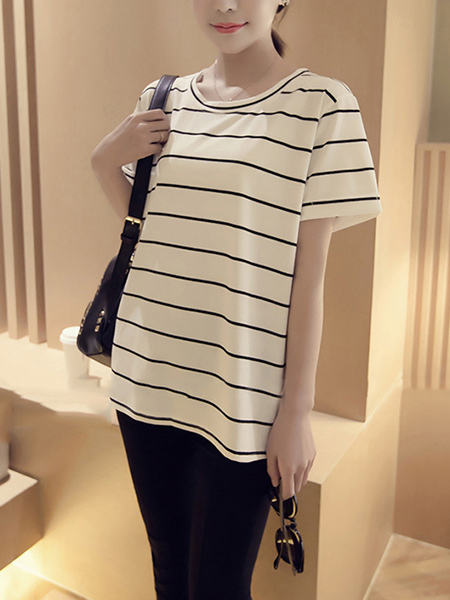White and Black  Loose Plus Size Round Neck Stripe Top for Casual Party