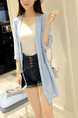 Blue Loose Chiffon See-Through Medium-Long Cardigan for Casual