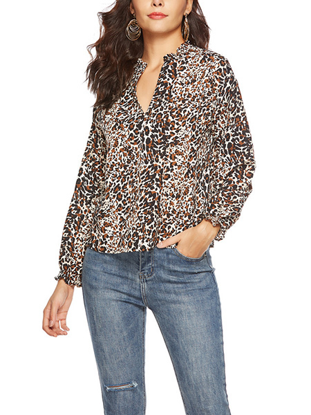 Colorful Loose Shirt V Neck Chiffon Printed Blouse Long Sleeve Top for Casual Party