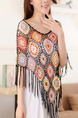 Colorful Loose Knitting Cutout Cloak Tassel Embroidery Top for Casual
