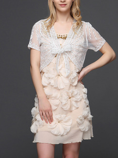 White Plus Size Lace Embroidery See-Through V Neck Sun Protection Butterfly Knot Cardigan for Casual