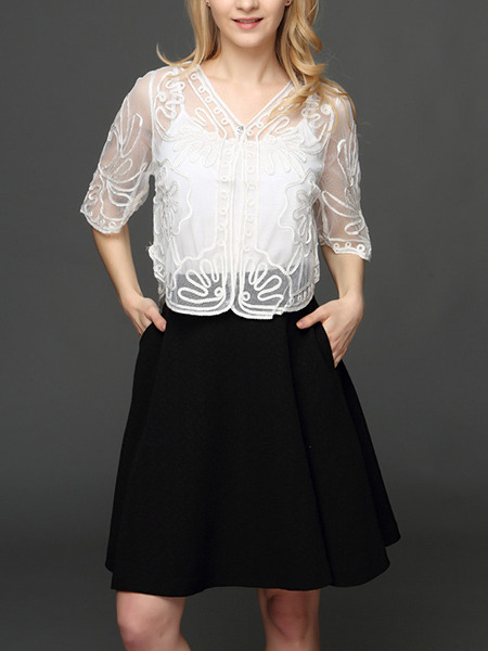 White Plus Size Lace Embroidery See-Through V Neck Sun Protection  Cardigan for Casual
