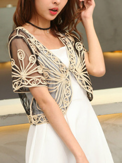 Brown Plus Size Lace Embroidery See-Through V Neck Sun Protection  Cardigan for Casual