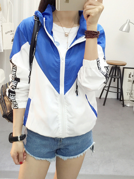 White and Blue Plus Size Loose Contrast Linking Hooded Drawstrings Pockets Letter Printed Long Sleeve Coat for Casual