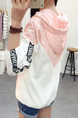 White and Pink Plus Size Loose Contrast Linking Hooded Drawstrings Pockets Letter Printed Long Sleeve Coat for Casual