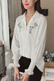 White Plus Size Loose Lapel Embroidery Adjustable Flare Long Sleeve  Top for Casual Office