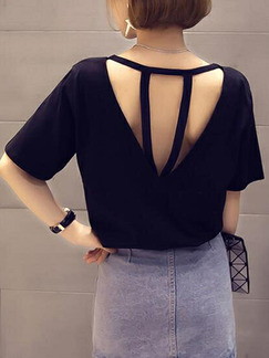 Black Loose Round Neck Open Back Top for Casual Party Nightclub